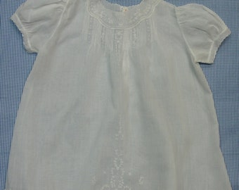 Sweet Vintage Baby or Doll Dress, Hand Made, Embroidery,Tucks, Puffed Sleeves