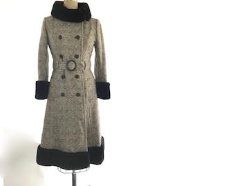 70s wool coat with fur | vintage wool coat | vintage herringbone coat
