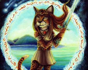 Cheetah Warrior Maiden Wielding Sword, Sci Fi, Fantasy, Outer Space, 11x14 Fine Art Print