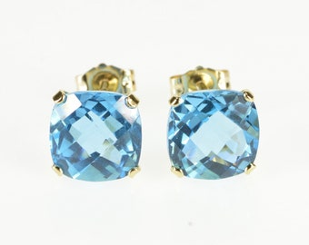 14K Cushion Cut Faceted Blue Topaz Stud Earrings Yellow Gold