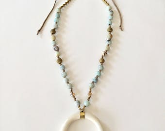 Double Horn Necklace /Amazonite Tusk Necklace / Amazonite Necklace / Long Beaded Necklace /Amazonite Boho Necklace / Cresent Horn