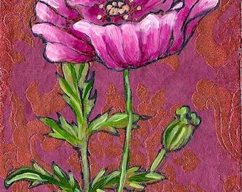 Baroque Poppy, GREETING CARD - baroque print, pink poppy, flower art, flower painting poppies