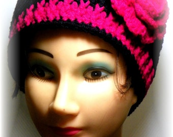 Adult Beanie with Flower....Very Stylish!
