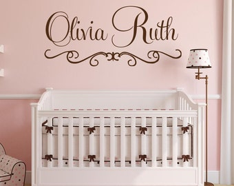 Personalized Name Wall Decal Fancy Name Decal Elegant Baby Nursery Decal Girls Bedroom Vinyl Wall Art Cursive Name Wall Decal
