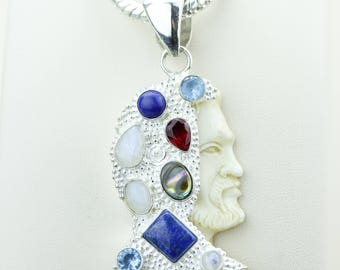 William Shakespeare TOTEM Goddess Face Moon Face Bone Carving 925 S0LID Sterling Silver Pendant + 4MM Chain p4281