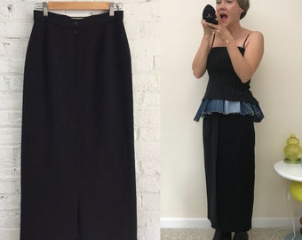 vintage 80s french minimalist black column skirt / Votre Nom ankle length pencil skirt / black parisian chic maxi skirt