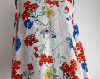 white red and blue floral cutout sleeve top