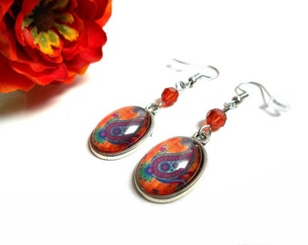 Cabochon earrings with a paisley indian red (orange) swarovski crystal bead
