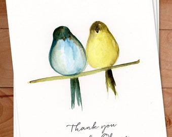 Birds Thank You, Watercolor Birds Notecards, Thank You notes, Bird Cards, Personalized, Thank you Cards, Custom Childrens Thank You Notes