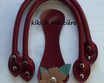 bag handles, bag handles handbag handles, kit Burgundy leatherette handles to bag