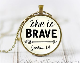 Large She Is Brave Necklace Christian Necklace Christian Jewelry Large Pendant Necklace Scripture Pendant Graduation Gift