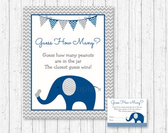 Elephant Guess How Many Peanuts Game / Elephant Baby Shower / Peanut Guessing Game / Navy & Gray / INSTANT DOWNLOAD A219