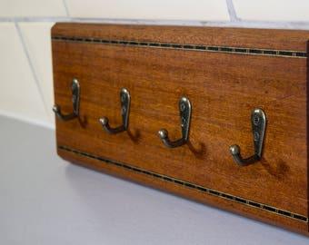 Reclaimed Mahogany Wooden Key Rack Hooks With Decorative Inlay