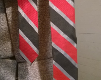Vintage skinny tie-red black and silver stripes