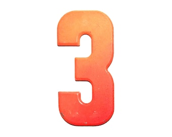 """7 1/2"""" Vintage Metal Number 3 Orange - Marquee Signage Sign - Sports Wedding Birthday Numbers  Kid's Party Decor House Address Outdoor"""
