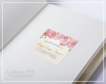 """WATERCOLOR FLORAL """"This Book Belongs To"""" Adhesive Sticker Book Plate Labels in blush and gold with DIY Printable Option"""