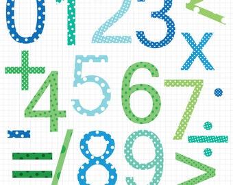 Teacher Clipart - Printable Polka Dot Number and Math Clip Art Instant Digital Download Images