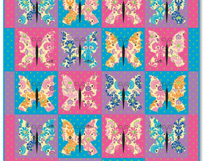 PDF Digital Download of the Bohemian Butterflies Twin Size Quilt Pattern - Ellen Medlock Studio Design (#115X )