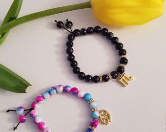 Glass bead Zodiac bracelets w/ gold hardware