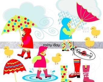 Rainy Day: Clip Art Pack (300 dpi transparent png) Card Making Digital Umbrella Duck Little Girls Birthday Rainboots Clouds
