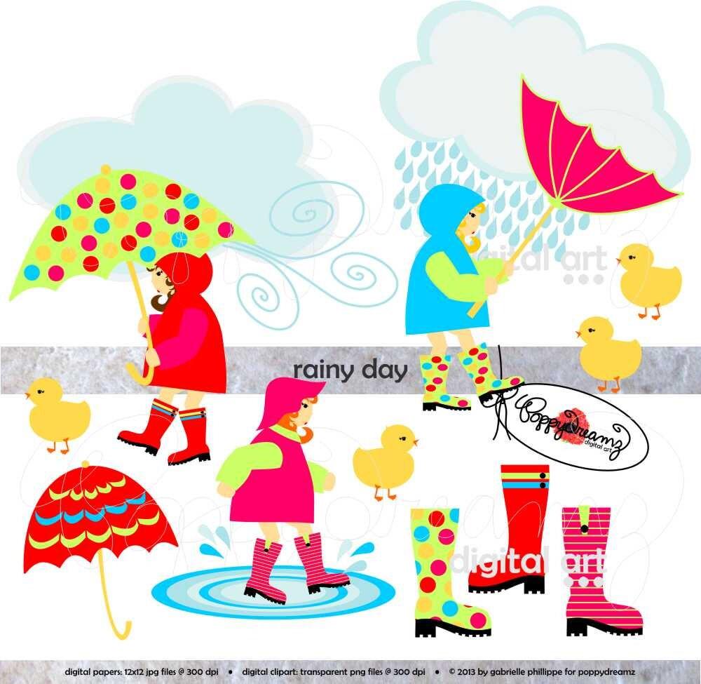 rainy day clip art pack 300 dpi transparent png card making rh etsy com rainy day clip art images rainy day clipart free