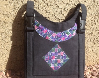 Black walker/wheelchair tote with multi-color accent