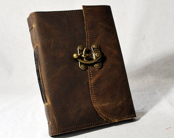 Medium Rustic Leather Latch Journal with Recycled Paper