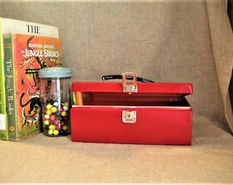 Metal Cash Box in Red Upcycled BRIGHT Red Treasure Chest-Box for STORAGE and Organization  Metal BOX
