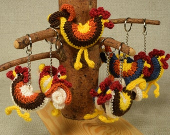 Keychain Rooster, Amigurumi Rooster, Stuffed Rooster, Crochet Rooster