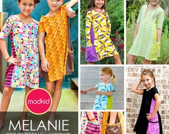 Melanie Knit Dress PDF Downloadable Pattern by MODKID... sizes 2T to 10 Girls included - Instant Download