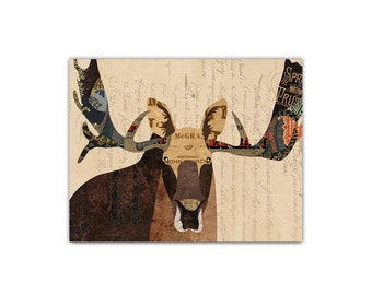 Moose Art Print - Collage Illustration Art Home Decor