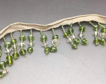 Green Glass Beaded Fringe Sewing Trim Dolls Bears Lampshades 5 Yards