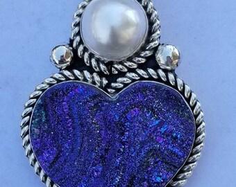 Drusy quartz heart pendant