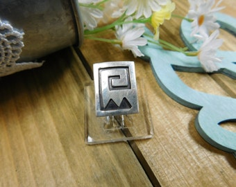 Handmade Sterling Silver Aztec Design Ring Size 5