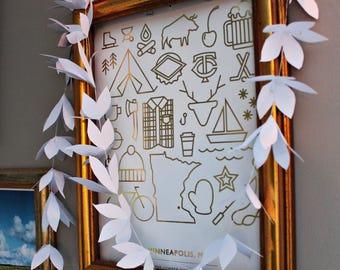 Paper Flower Garland - White