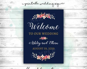 Wedding Sign, Wedding Welcome Sign, Navy and Gold Wedding Sign, Navy, Gold and Blush Wedding, Welcome to our Wedding, Wedding Guest Welcome