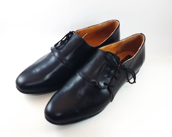 Tied oxford shoes, asymmetric leather shoes, classic black leather shoes for women, low heel shoes, women leather shoes, comfortable shoes