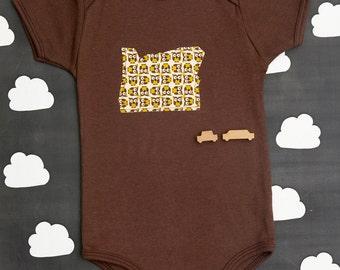 oregon onesie or toddler tee, brown owl, Oregon baby gift, CHOOSE YOUR STATE custom