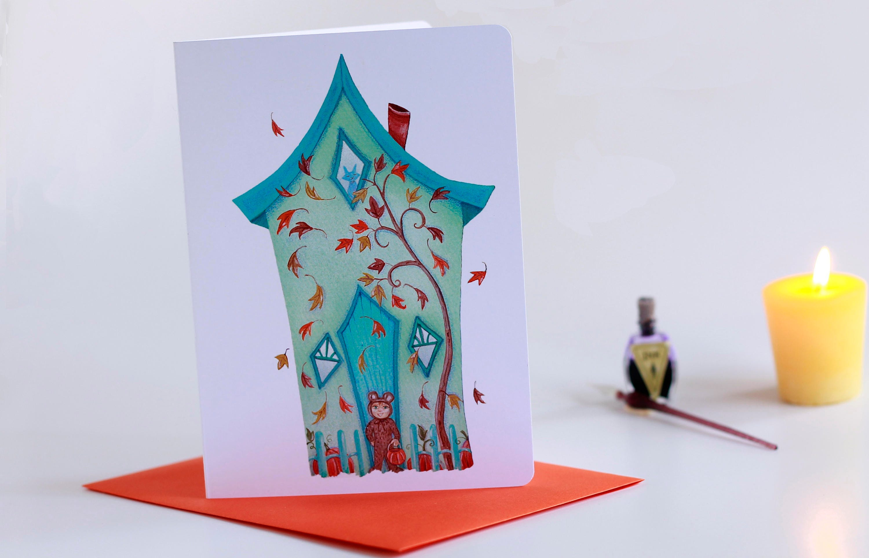 Falling leaves blank card trick or treat greeting card halloween gallery photo gallery photo gallery photo gallery photo m4hsunfo