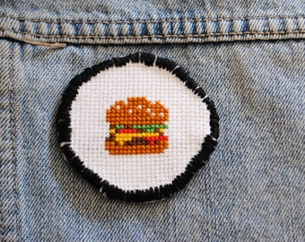 Cheeseburger Cross Stitch / Cross Stitch Iron on Patch  / Wearable Art / Cheeseburger / Handmade / Cross Stitch / Iron on Patch / Gift