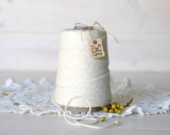 Thick Natural Cotton Twine -  500 Feet Cone - 100% Natural Cotton Twine - Cotton Twine - 2mm Thickness
