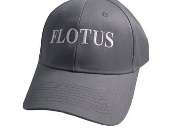 FLOTUS Typography First Lady of the United States Melania Trump Style White Embroidery on Adjustable Structured Charcoal Grey Baseball Cap