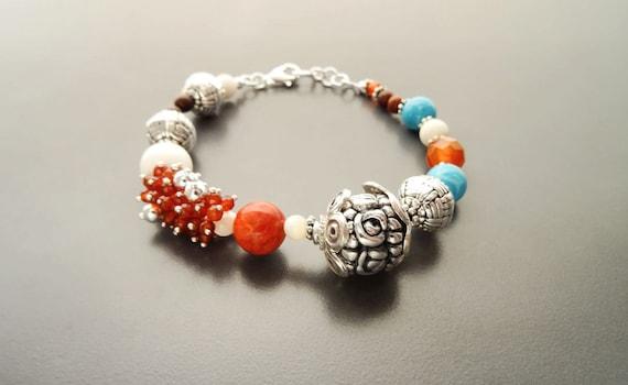 Boho Beads Bracelet  - Sterling Silver -Tibetan Gemstone Beads - Indie Bracelet - Boho Bracelet - Hipster Bracelet - Gypsy Bracelet, Tribal