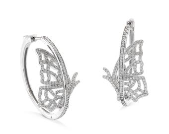Landed butterfly hoop earrings - silver
