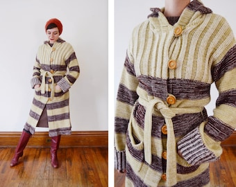 1970s Brown Striped Long Sweater - S