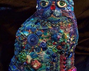 SALE The Fantastic Bead Mosaics© CAT Series BLUE Cat with Fez