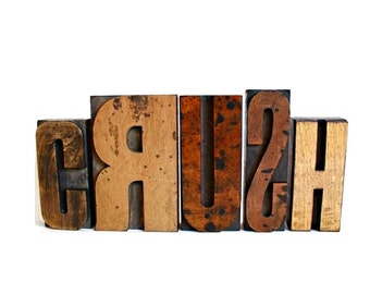 Love Sign . vintage wood letters . first crush . first love word art . shelf sitters . wooden letters . vintage crush vintage lot