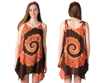 Tie-Dye Fairy-Cut Dress - Orange Brown Multi - 4475E