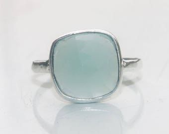925 Sterling Silver Ring, Silver Ring, Cushion Gemstone Ring, Aqua Chalcedony Ring, Stone Ring, Sterling Silver Ring