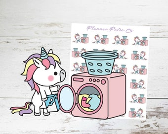 Unicorn Planner Stickers // Laundry // Wash Clothes // Housework // 016